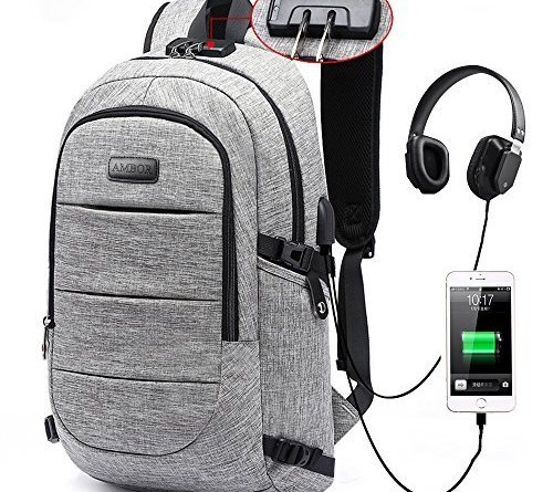 Laptop Backpack, Business Anti Theft Waterproof Travel Backpack with USB Charging Port & Headphone interface for College Student for Women Men,Fits Under 17 Inch Laptop Notebook by AMBOR by AMBOR - Voucherist