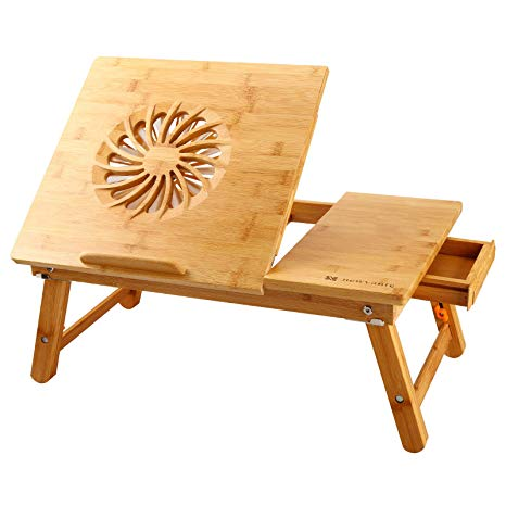 Laptop Desk Nnewvante Adjustable Laptop Desk Table 100% Bamboo with USB Fan Foldable Breakfast Serving Bed Tray w' Drawer by NNEWVANTE - Voucherist