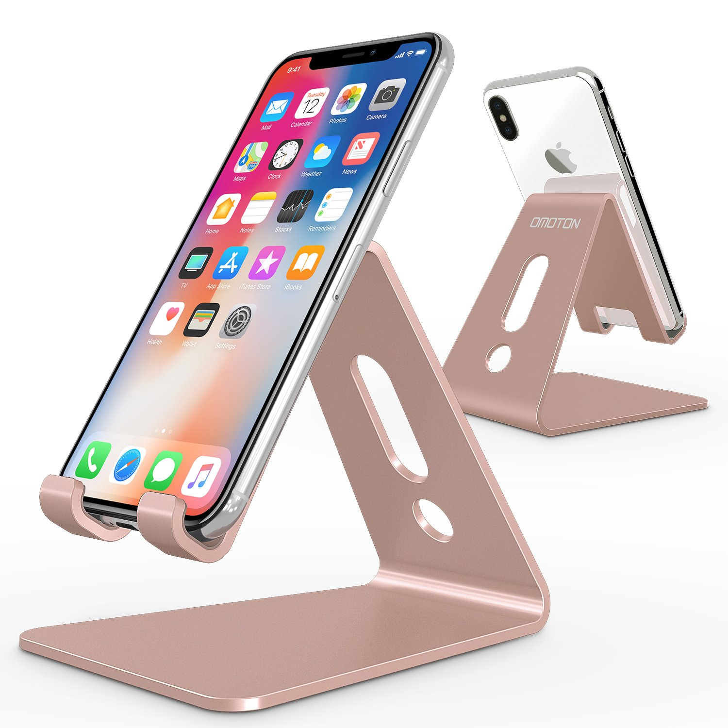 [Updated Solid Version] OMOTON Desktop Cell Phone Stand Tablet Stand, Advanced 4mm Thickness Aluminum Stand Holder for Mobile Phone and Tablet (Up to 10.1 inch), Rose Gold by OMOTON - Voucherist
