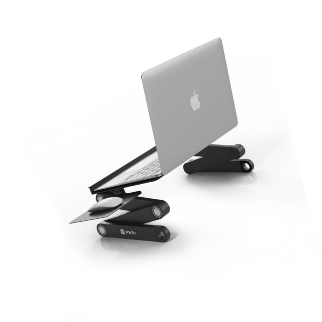 "Pwr Laptop Table Stand Adjustable Riser: Portable with Mouse Pad Fully Ergonomic Mount Ultrabook Macbook Notebook Light Weight Aluminum Black Bed Tray Desk Book Fans Up to 17"" by PWR+ - Voucherist"