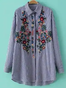 Women's Striped Floral Embroidered Shirt