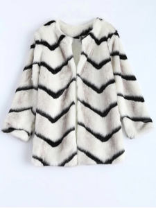 Women's Zig Zag Faux Fur Coat
