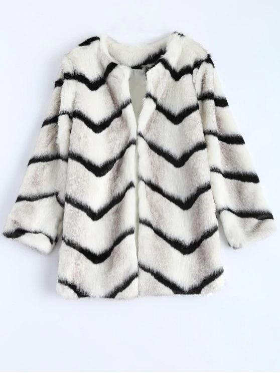 Women's Zig Zag Faux Fur Coat