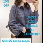 Womens Blue Plaid Shirt with Ballon Sleeves