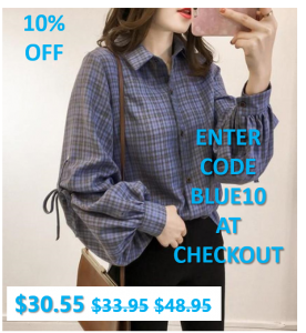 Womens Blue Plaid Shirt with Ballon Sleeves