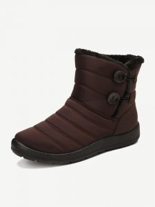 Buckle Cold Resistant Warm Fur Lining Waterproof Snow Ankle Boots For Women