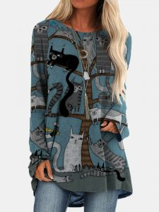 Cartoon Cat Print O-neck Long Sleeve Blouse For Women
