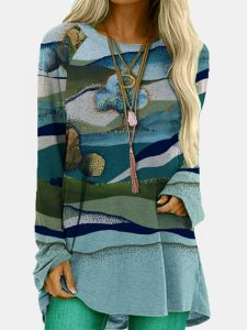 Landscape Prints O-neck Long Sleeve Loose Blouse