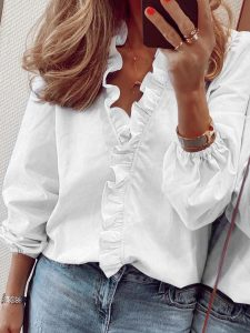 Letters Print Ruffle Neck Long Lantern Sleeve Blouse Long Shirts For Women