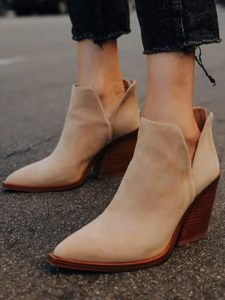Plus Size Women Pointed Toe Chunky Heel Ankle Boots