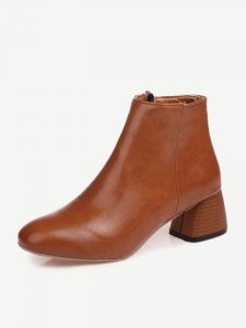 Stacked Heel Zipper Ankle Boots For Women