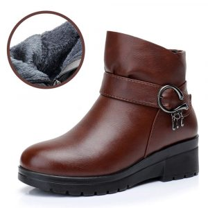 Women Wearable Leather Warm Lined Zipper Ankle Boots