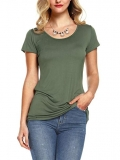 Amoretu Womens Scoop Neck Short Sleeve Tee Tops Cotton T-Shirts for Summer