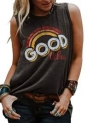 Good Vibes Rainbow Tank Top Women's Vintage Sleeveless Casual Graphic Tee T-Shirt