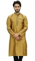 Atasi Men's Band Collor Green Kurta Dupion Full Sleeve Ethnic Shirt