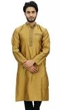 Atasi Men's Band Collor Green Kurta Dupion Full Sleeve Ethnic Shirt