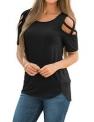 LookbookStore Women's Casual Crisscross Cold Shoulder Basic T-Shirt Blouse Tops