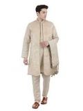 Kurta Pajama Stole and Overcoat Set for Men 4-Pieces Long Sleeve Sherwani Wedding Party Wear Dress