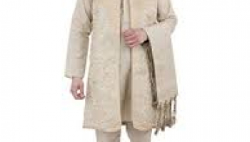 Kurta Pajama Stole and Overcoat Set for Men 4-Pieces Long Sleeve Sherwani Wedding Party Wear Dress