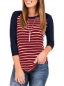 INFITTY Women's 3/4 Sleeve Raglan Striped T Shirt Baseball Tunic Tops Blouse