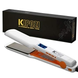 "KIPOZI Pro Nano Titanium Flat Iron Hair Straightener with Digital LCD Display,Instant Heat Up,High Heat 450 Degrees,Dual Voltage,1.75"" Wide Plate(White)  by KIPOZI"