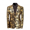 Men's Dress Floral Suit Notched Lapel Slim Fit Stylish Blazer Dress Suit
