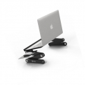 Pwr Laptop Table Stand Adjustable Riser: Portable with Mouse Pad Fully Ergonomic Mount Ultrabook Macbook Notebook Light Weight Aluminum Black Bed Tray Desk Book Fans Up to 17″ by PWR+