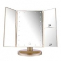 RICHEN DeWEISN Tri-Fold Lighted Vanity Makeup Mirror with 21 LED Lights, Touch Screen and 3X/2X/1X Magnification Mirror, Two power Supply Mode Tabletop Makeup by DeWEISN