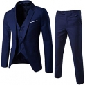 WULFUL Men's Suit Slim Fit One Button 3-Piece Suit Blazer Dress Business Wedding Party Jacket Vest & Pants
