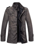 Wantdo Men's Wool Blend Jacket Stand Collar Windproof Pea Coat