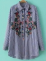 Hot Sale: 52% OFF for Women's Striped Floral Embroidered Shirt