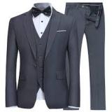 YFFUSHI-Men's Slim Fit 3 Piece Suit One Button Blazer Tux Vest & Trousers