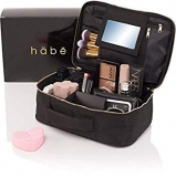 habe Travel Makeup Bag with Mirror – Premium Vegan Designer Make Up Bag Organizer Train Case for Women – More Storage than 3 Cosmetic Bags, Make Up Bags or Make Up by häbe