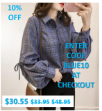 SAVE 10% – Womens Blue Plaid Shirt with Ballon Sleeves